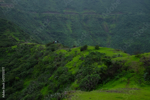 Foto op Plexiglas Groen blauw Lush green monsoon nature landscape mountains, hills, farming plot, Purandar, Pune, Maharashtra, India