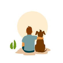 Man And His Best Friend Dog Cu...