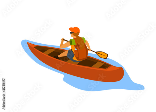 woman traveling with backpack paddling canoe isolated vector illustration Canvas Print