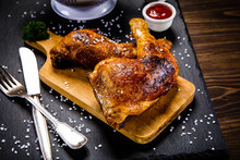 Roast Chicken Legs With And Vegetables