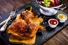 Roast Chicken Legs With And Ve...