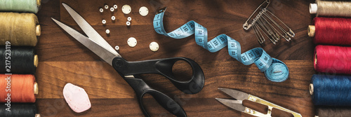 Fotografia, Obraz sewing tools on the wooden table