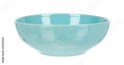 Fototapeta Blue empty ceramic bowl isolated on white background obraz