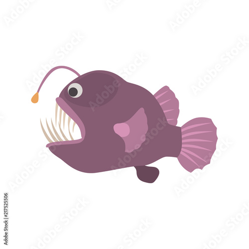 Garden Poster Fairytale World Angler fish color vector icon. Flat design