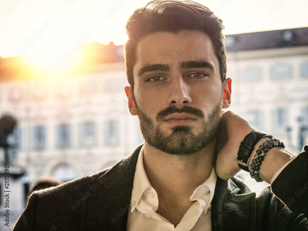 Fototapety, obrazy: Handsome serious businessman standing outside in elegant European city center, Turin in Italy