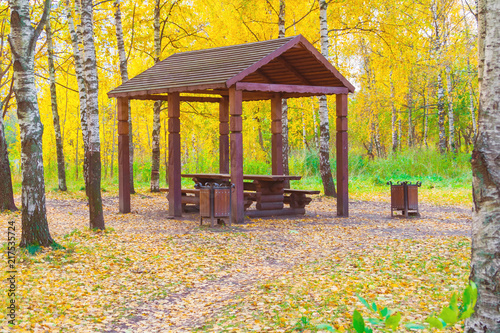 Canvas-taulu Wooden arbor in the autumn forest