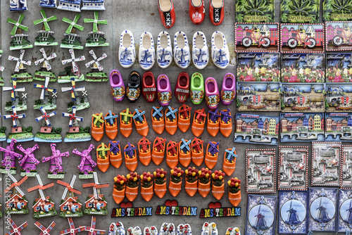 multiple, colorful fridge magnets from Amsterdam and Holland, displayed for sale