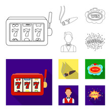 A Gaming Machine A One-armed Bandit, A Cigar With Smoke, A Five-star Hotel Sign, A Dilettante In A Vest. Casinos And Gambling Set Collection Icons In Outline,flat Style Vector Symbol Stock
