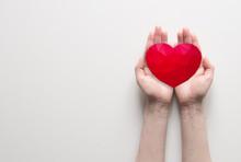 Red Polygonal Heart In Female ...