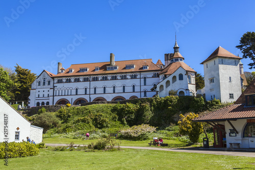 Caldey Abbey Tenby Wales which is occupied by Cistercian monks Wallpaper Mural