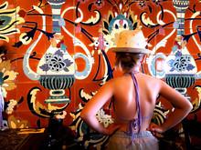 Moroccan Bar Decor Tiles Girl Hat Summer Heat Wave