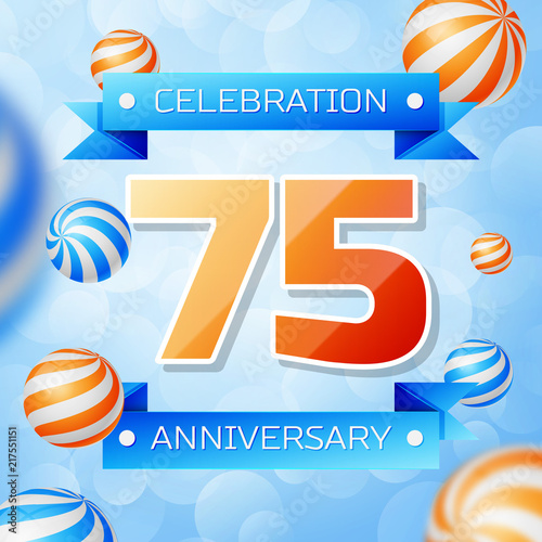 Realistic Seventy five Years Anniversary Celebration design banner Poster