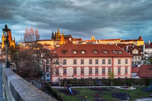Staande foto Praag Romantic views of Prague from Charles Bridge at sunrise