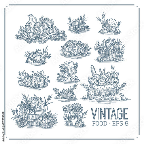 Cadres-photo bureau Style Boho Vintage Food Set