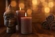 Leinwandbild Motiv Beauty wellness still life with head of buddha
