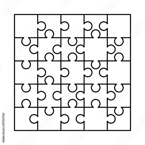 25 White Puzzles Pieces Arranged In A Square Jigsaw Puzzle Template Ready For Print Cutting Guidelines On