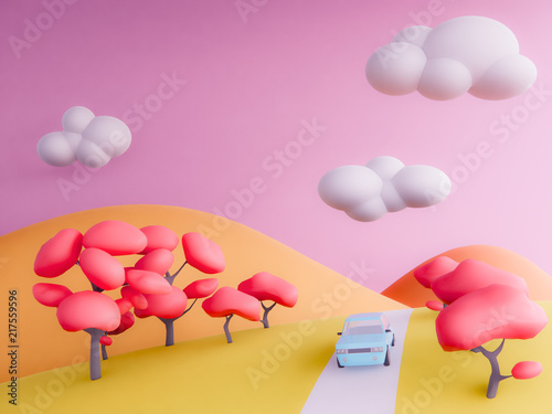 Cadres-photo bureau Rose banbon autumn mountains pastel background , 3d render