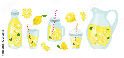 Canvas Print lemonade and lemons summer set with fruits