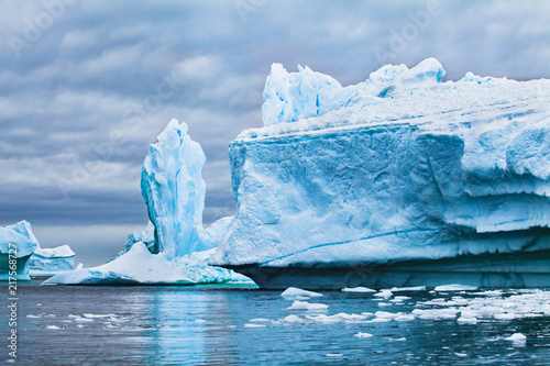 iceberg landscape nature of Antarctica, climate change concept background, melting ice due to global warming