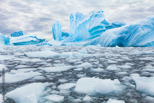 Door stickers Antarctic Antarctica beautiful landscape, blue icebergs, nature wilderness
