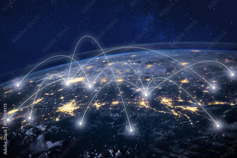 Fototapeta global network concept, information technology and telecommunication, planet Earth from space, business communication worldwide, original image furnished by NASA