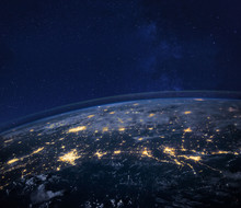 Night View Of Planet Earth Fro...