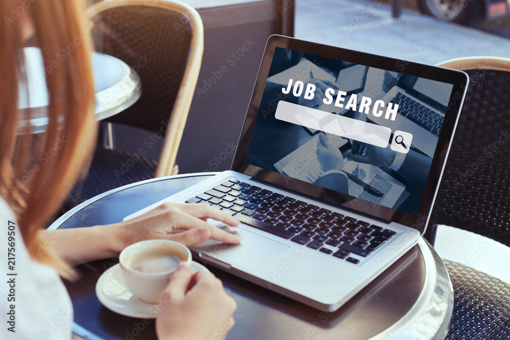 Fototapeta job search concept, find your career, woman looking at online website