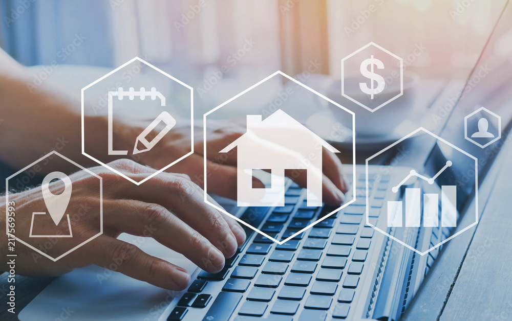 Fototapeta real estate concept, property value diagram, hands typing on computer as background, buy a house