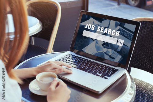 Fototapeta job search concept, find your career, woman looking at online website obraz