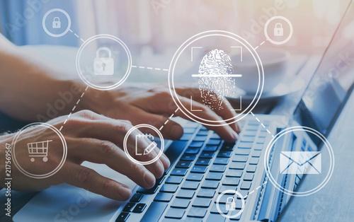 Fotografie, Tablou fingerprint authorization access concept, personal data information security