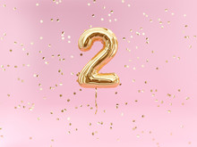 Two Year Birthday. Number 2 Flying Foil Balloon And Confetti. Two-year Anniversary Background.