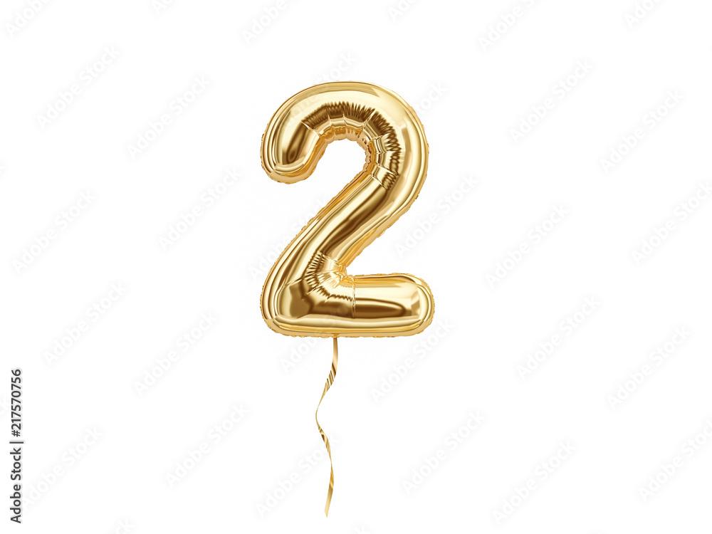 Fototapeta Foil balloon number Two isolated on white background