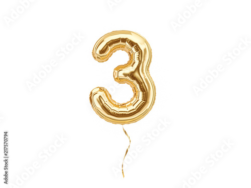 Fotografia  3. Foil balloon number three isolated on white background
