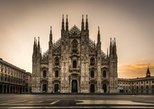 Milano Piazza Duomo Cathedral Front View At Night No People