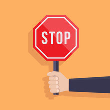 Stop Sign Illustration Flat, H...