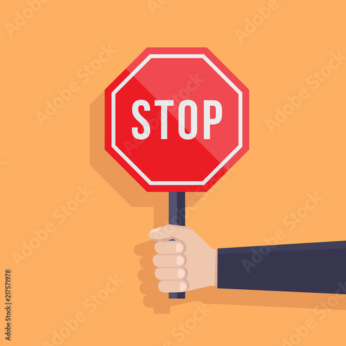 Fotomural  Stop sign illustration flat, hand hold stop sign, flat design vector illustratio