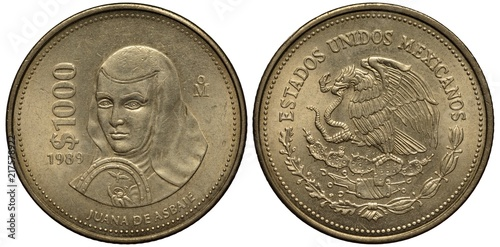 Poster  Mexico Mexican coin 1000 one thousand peso 1989, subject poetess and nun Juana d