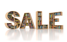 Sale From Bookshelf With Book In Form Of Letters Isolated On White Background. Back To School Sales Concept.