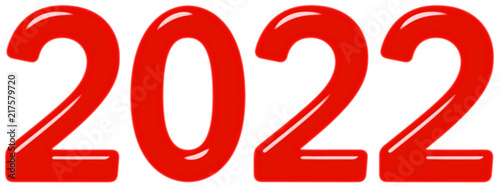 Fotografia  Inscription 2022 from red glass or plastic, isolated on white background, 3d ren