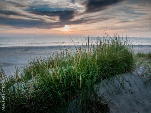 Tuinposter Noordzee Sonnenuntergang an der Nordsee. Dünenlandschaft