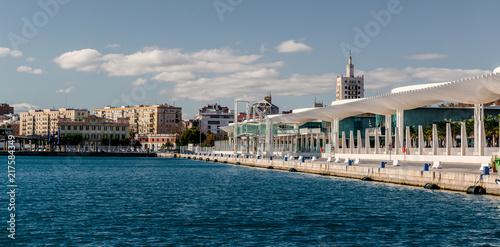 Fotobehang Poort Waterfront promenade. Malaga seaport. Spain