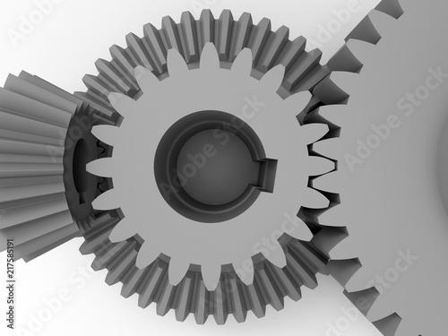 Fotografie, Obraz  3D render - closeup of gear interlock