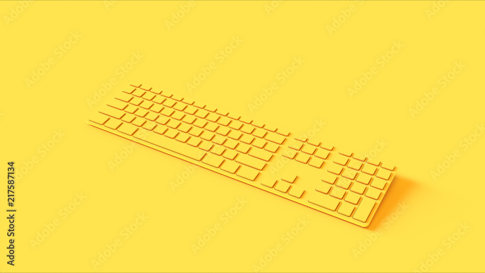 Fototapeta Yellow Slim Computer keyboard 3d illustration 3d render