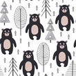 seamless pattern with bear in forest Scandinavian style - vector illustration, eps