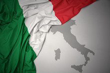 Waving Colorful National Flag And Map Of Italy .