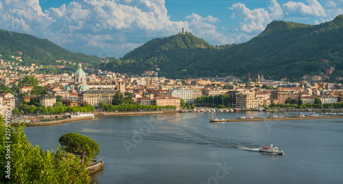 Panoramic view of Como city, overlooking the Lake Como, on a sunny summer afternoon Fototapeta