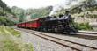 canvas print picture - Alter Zug mit Dampflockomotive am Furkapass