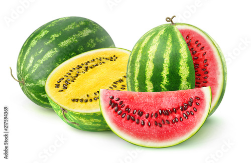 Isolated watermelons. Two watermelon varieties, red and yellow, isolated on white background with clipping path