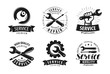 Service, repair set of labels or logos. Maintenance work icon. Vector