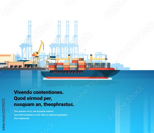 Fotografía Industrial sea port cargo logistics container freight ship import export crane w
